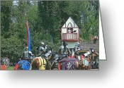 Jousting Greeting Cards - The Players Greeting Card by Kathleen Struckle