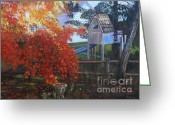 Split Rail Fence Painting Greeting Cards - The Playhouse in Fall Greeting Card by Marlene Book