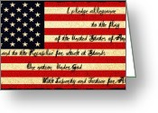 Pledge Of Allegiance Greeting Cards - The Pledge of Allegiance Greeting Card by Bill Cannon