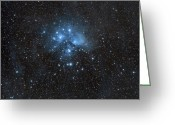 Starfield Greeting Cards - The Pleiades, Also Known As The Seven Greeting Card by John Davis