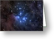 Nebula Greeting Cards - The Pleiades, Also Known As The Seven Greeting Card by Roth Ritter