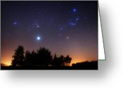 Star Clusters Greeting Cards - The Pleiades, Taurus And Orion Greeting Card by Luis Argerich