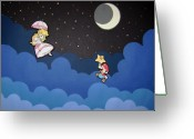 Mario Art Greeting Cards - The Plumber and the Princess Greeting Card by Kenya Thompson