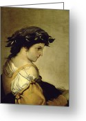 Pensive Greeting Cards - The Poem Greeting Card by Salvator Rosa