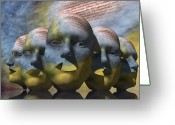 Surrealism Greeting Cards - The Poetry of Masks Greeting Card by Jon Gemma In Your Living Room
