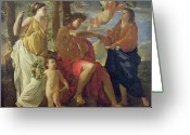 Poussin Greeting Cards - The Poets Inspiration Greeting Card by Nicolas Poussin