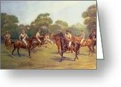 Britain Painting Greeting Cards - The Polo Match Greeting Card by C M  Gonne