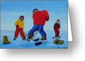 Hockey Games Greeting Cards - The Pond Hockey Game Greeting Card by Anthony Dunphy
