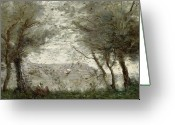 River Banks Greeting Cards - The Pond Greeting Card by Jean Baptiste Corot