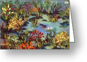 Lilies Tapestries - Textiles Greeting Cards - The Pond Greeting Card by Marina Gershman