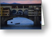 River Scenes Greeting Cards - The Ponte Vecchio At Dusk Greeting Card by O. Louis Mazzatenta