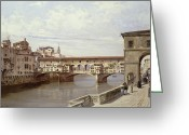 River Banks Greeting Cards - The Pontevecchio - Florence  Greeting Card by Antonietta Brandeis