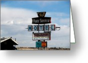 The Mother Road Greeting Cards - The Pony Soldier Motel on Route 66 Greeting Card by Susanne Van Hulst