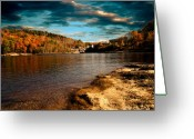 Clouds Photo Greeting Cards - The Pool Below Upper Falls Rumford Maine Greeting Card by Bob Orsillo