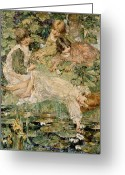 Pond Painting Greeting Cards - The Pool Greeting Card by Edward Atkinson Hornel