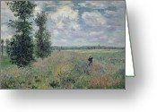 Rural Landscapes Greeting Cards - The Poppy Field Greeting Card by Claude Monet