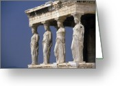 Greek Sculpture Greeting Cards - The Porch of the Maidens Greeting Card by Carl Purcell