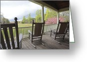 Rocking Chairs Greeting Cards - The Porch  Greeting Card by Steve Gravano