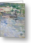 Architecture Painting Greeting Cards - The Port at Nice Greeting Card by Berthe Morisot