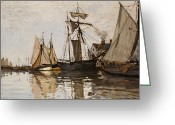Waters Painting Greeting Cards - The Port of Honfleur Greeting Card by Claude Monet
