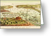 Birds Eye Greeting Cards - The Port Of New York Harbor Greeting Card by Pg Reproductions