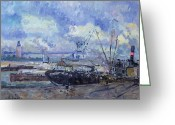 Brushstroke Greeting Cards - The Port of Rouen Greeting Card by Albert Charles Lebourg