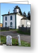 Potter School House Greeting Cards - The Potter School House . Bodega Bay . Town of Bodega . California . 7D12473 Greeting Card by Wingsdomain Art and Photography