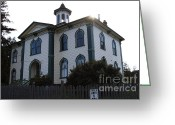 Potter School House Greeting Cards - The Potter School House . Bodega Bay . Town of Bodega . California . 7D12477 Greeting Card by Wingsdomain Art and Photography