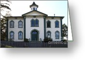 Potter School House Greeting Cards - The Potter School House . Bodega Bay . Town of Bodega . California . 7D12487 Greeting Card by Wingsdomain Art and Photography