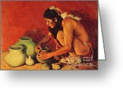  Tribal Prints Greeting Cards - The Pottery Maker Greeting Card by Pg Reproductions