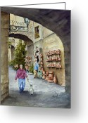 Alley Greeting Cards - The Pottery Shop Greeting Card by Sam Sidders