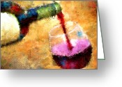 Vineyard Digital Art Greeting Cards - The Pour Greeting Card by Jeri Kelly