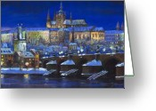 Light Greeting Cards - The Prague Panorama Greeting Card by Yuriy  Shevchuk