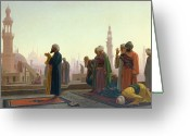 Minaret Greeting Cards - The Prayer Greeting Card by Jean Leon Gerome