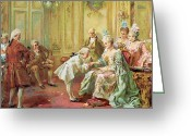 Versailles Greeting Cards - The presentation of the young Mozart to Mme de Pompadour at Versailles Greeting Card by Vicente de Parades