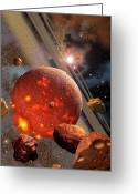 Cataclysm Greeting Cards - The Primordial Earth Being Formed Greeting Card by Ron Miller