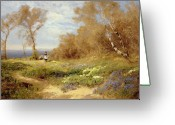 Clayton Painting Greeting Cards - The Primrose Gatherers Greeting Card by John Clayton Adams