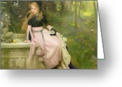 Sat Painting Greeting Cards - The Princess and the Frog Greeting Card by William Robert Symonds