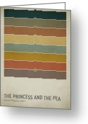 Vintage Greeting Cards - The Princess and the Pea Greeting Card by Christian Jackson