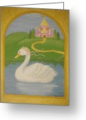 Childrens Artwork Drawings Greeting Cards - The Princess Swan Greeting Card by Valerie Chiasson-Carpenter