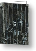 Charcoal Greeting Cards - The Prisoner Greeting Card by David Finley
