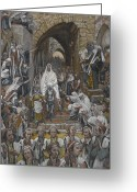 Faith Greeting Cards - The Procession in the Streets of Jerusalem Greeting Card by Tissot