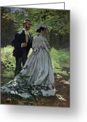 The Glade Greeting Cards - The Promenaders Greeting Card by Claude Monet