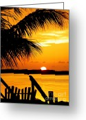 Tropical Sunset Greeting Cards - The Promise Greeting Card by Karen Wiles