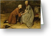 Peering Greeting Cards - The Proposal Greeting Card by John Pettie