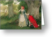 Marry Greeting Cards - The Proposal Greeting Card by Sir James Dromgole Linton
