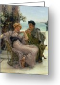 Alma-tadema Greeting Cards - The Proposal Greeting Card by Sir Lawrence Alma Tadema