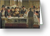 Bar Decor Greeting Cards - The Public Bar Greeting Card by John Henry Henshall