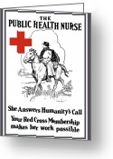 Great Mixed Media Greeting Cards - The Public Health Nurse Greeting Card by War Is Hell Store