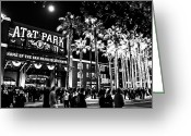 Att Baseball Park Greeting Cards - The Public House BW Greeting Card by Rick DeMartile